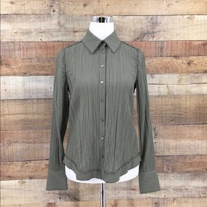 NWT Ramy Brook Theo Green Knot-Front Top Shirt